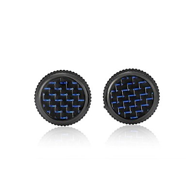 Carbon Backブルーcufflink christmasギフトfor her christmas Gift for Him
