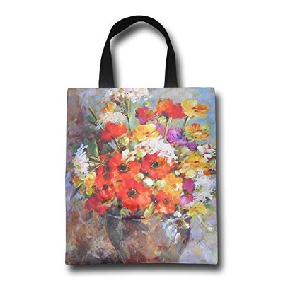 GJOHKRT Shopping Handle Bags -Oil Painting Flowers Personalized Tote Bag