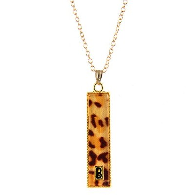 """Choa Leopard Printバーネックレス–シンプルな初期26Letters Pendent Personalized Gift for BFFネックレス、調節可能なチェーン18"""""""