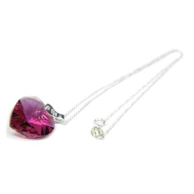 **Red Swarovski Elements Heart Pendantハートスワロフスキー・シルバーチェーンペンダント・レッド(CR)ギフト・プレゼント・ネックレス・シルバー【楽ギフ_包装】