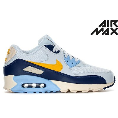 NIKE AIR MAX 90 ESSENTIAL AJ1285-008 PURE PLATINUM/YELLOW OCHRE-BLUE VOID-ROYAL TINT-LT CREAMナイキ エア...