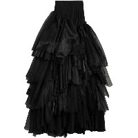 Burberry Organza and Tulle Tiered Maxi Skirt - ブラック