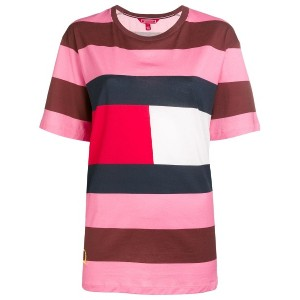 Hilfiger Collection striped logo patch T-shirt - ピンク