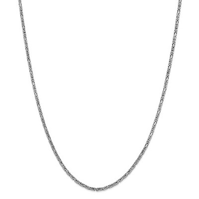 Beautiful White gold 14K White-gold 14k 2mm WG Byzantine Chain comes with a Free Jewelry Gift