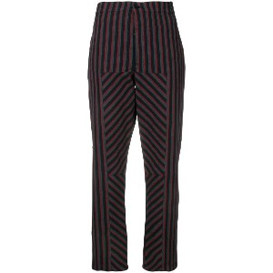 Closed striped tapered trousers - ブラック