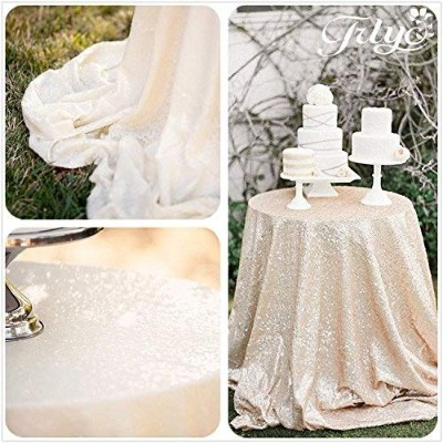 (DN 300cm Sparkly Ivory) - 300cm Sparkly Ivory Sequin Tablecloth, Round Sequin TableCloth, Sequin...