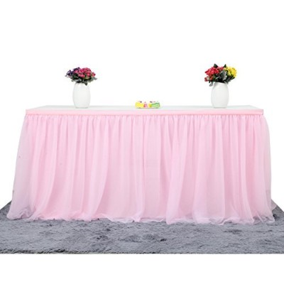 (L14(ft) H 80cm , Pink) - Suppromo 4.5 Yards High-end Gold Brim 3 Layer Mesh Fluffy Tutu Table...