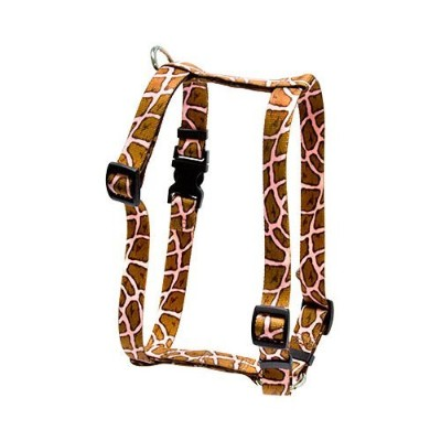 Yellow Dog Design H-GIRP104XL Giraffe Pink Roman H Harness - Extra Large
