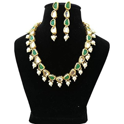 finekraft Fancy Meena Kundan Gold Plated Party Wearジュエリーネックレスセット