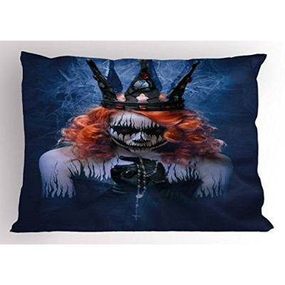 Queen Pillow Sham by Ambesonne , Queen of Death ScaryボディアートハロウィンEvil Face Bizarre Make Upゾンビ...