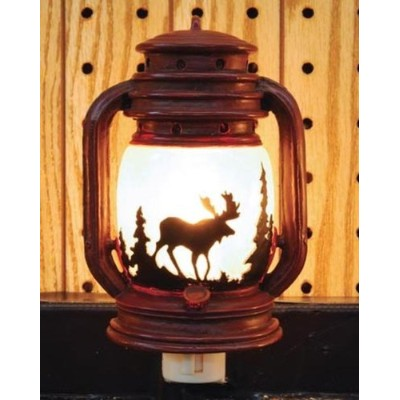 コンセントNight Light Lantern with Mooseシーン、6インチ