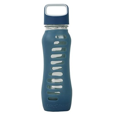 Eco Vessel Surf Glass Water Bottle with Protective Silicone Sleeve ガラス 水筒 620ml ブルー