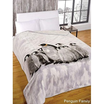 Super Soft Penguin Family Faux Fur Mink Fleece Blanket Bedroom Animal Throw by Dreamscene