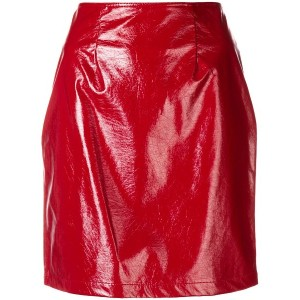 Federica Tosi vinyl pencil mini skirt - レッド
