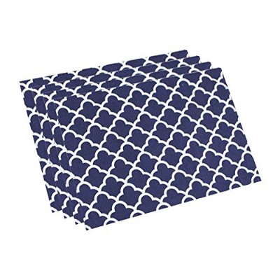 (13Wx19L (4 Pieces), Navy Blue) - Eforcurtain Set of 4 Navy Blue Fabric Table Mat Oil Proof Stain...