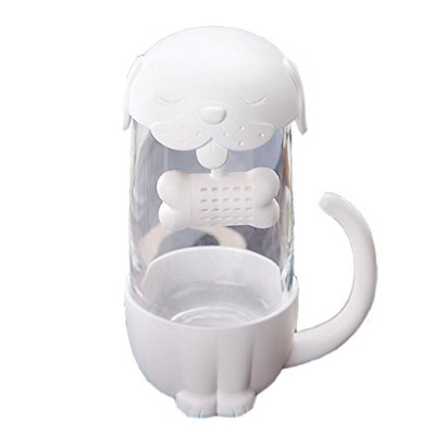 tilarry 10ozカット猫犬ガラスカップTea Mug with Fish Bone Infuser Strainerフィルタ