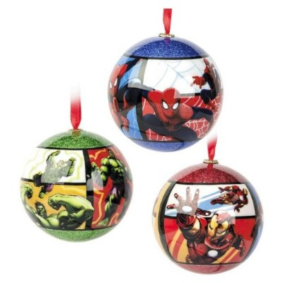 MarvelスーパーヒーロークリスマスツリーShatterproof Ornaments Includes The Incredible Hulk , Iron Man and Ultimateスパイ...
