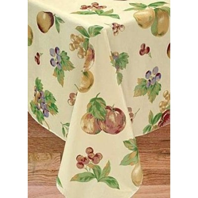 (52X90 OVAL) - Apple Delicious Flannel Backed Vinyl Tablecloth, 52X90 Oval