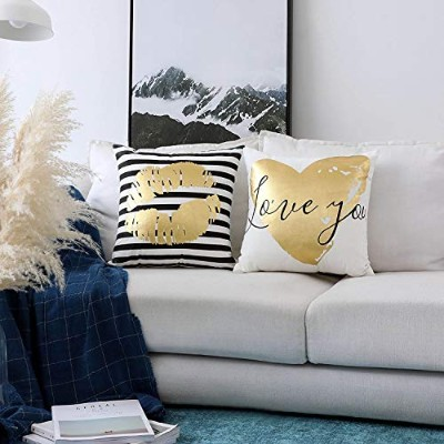 (Lip) - HOME BRILLIANT Outdoor Pillows Golden Print Supersoft Velvety Cushion Covers for Sofa Bench...