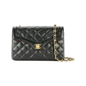 Chanel Vintage CHANEL Quilted CC Chain Shoulder Bag - ブラック