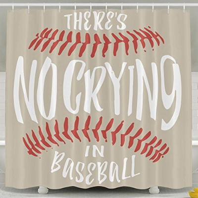 There 's no crying in baseballシャワーカーテンフック付き、60x 72inches–Non Toxic、環境に優しい、NO化学Odor 60*72inch...