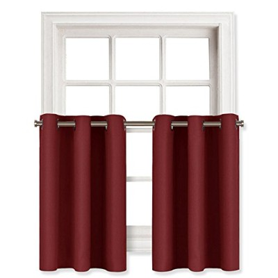(W29 L36-2 Panels, Burgundy) - Blackout Valances Curtains for Small Window - Pair of Thermal...