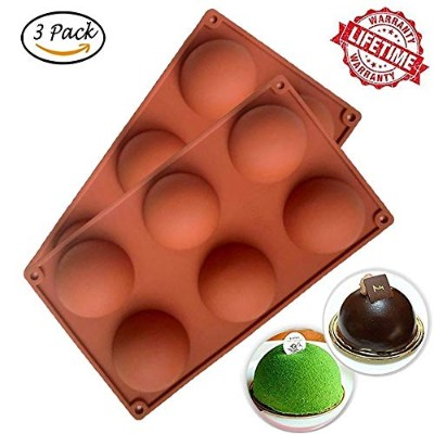 (3) - [3 Pack] Silicone Cake Mould, IC ICLOVER Food Grade 6 Cavities Hemisphere Dome Silicone Mould...