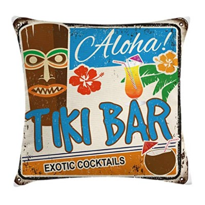 Tikiバースロー枕クッションカバーby Ambesonne、Rusty Vintage Sign AlohaエキゾチックCocktails and Coconut DrinkアンティークNostal...