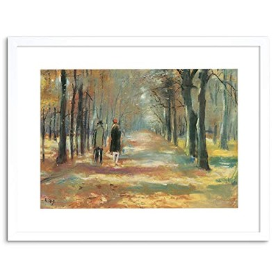 Painting Ury Couple Walking Woods Old Master Framed Wall Art Print