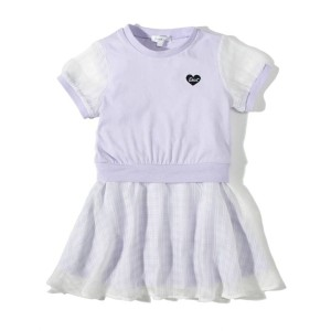 【3can4on(Kids)(サンカンシオン(キッズ))】 シフォンチェック柄 Tシャツワンピース OUTLET > ワンピース > その他 パープル
