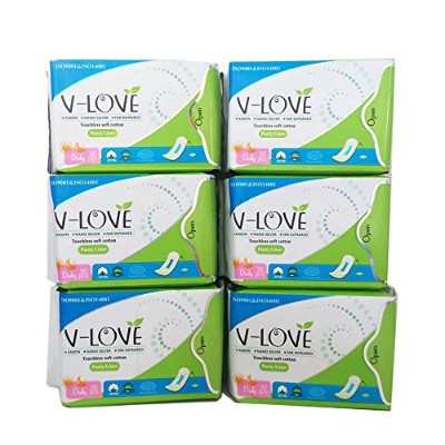 VLOVE Lightdays Cotton Pantiliners for Women, Patented Anion Strip, Light Absorbency, Hebal Scented...