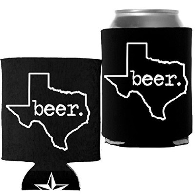 Texasビール – Proud Texan Lone Star StateポケットCoolie CanラップCooler ブラック