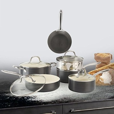 cooksmark hard-anodizedアルミ調理器具セットwithホワイトセラミックコーティング、丈夫Nonstick Pots and Pans Set with Steamerラック、5点