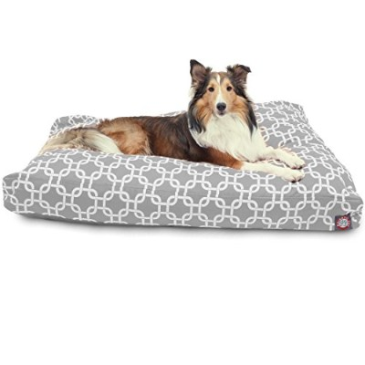 Majestic Pet Gray Links Large Rectangle Indoor Outdoor Pet Dog Bed With Removable Washable Cover by...