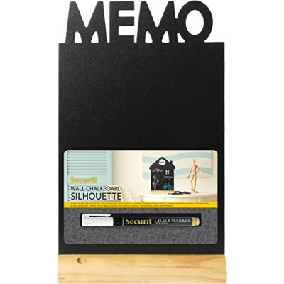 Securit Silhouette Memo Table Chalk Board - Black/Teak