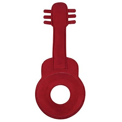 Muttnation 31872 Faux Suede Guitar Dog Toy, Red