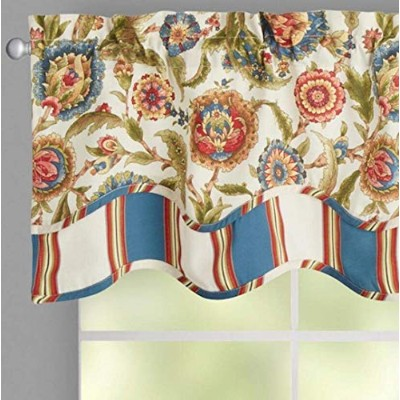 "Traditions by Waverly Grand Bazaarストライプ赤とブルー花柄スカラップWindow Valance , 52 "" W x 16 "" L"