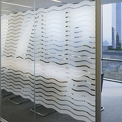 (90cmx200cm) - Lemon Cloud No Glue Window Film Static Frosted Window Cling Classic Wave Pattern for...