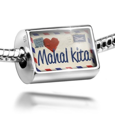 Sterling Silver Charm I Love You Filipino Love Letter from the Philippines - Be