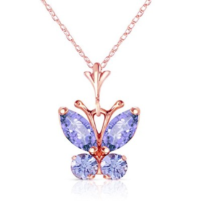"""K14 Rose Gold 18"""" Necklace with Tanzanite Butterfly Pendant"""