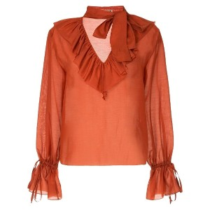 Flow The Label ruffled neck blouse - イエロー