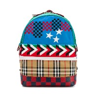 Burberry Kids checked stars backpack - ブルー