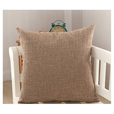 (46cm x 46cm, Brown) - DR.NATURE Solid Colour Pillow Covers Shams Burlap Lined Square Throw Pillow...