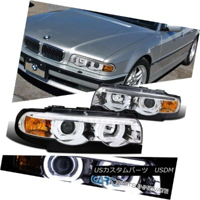 ヘッドライト 95-01 BMW E38 7-Series 740i 740iL 750iL Chrome LED Iced Halo Projector Headlight 95-01 BMW...