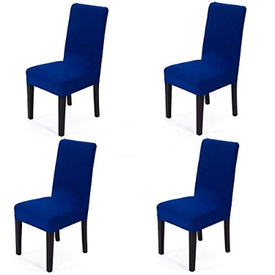 (Royal Blue) - Spandex Fabric Stretch Removable Washable Dining Room Chair Cover Protector Seat...