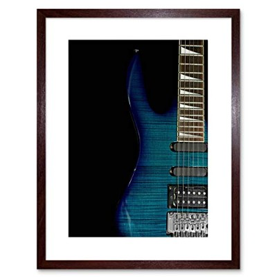 Music Instrument Photo Striped Electric Guitar Framed Wall Art Print