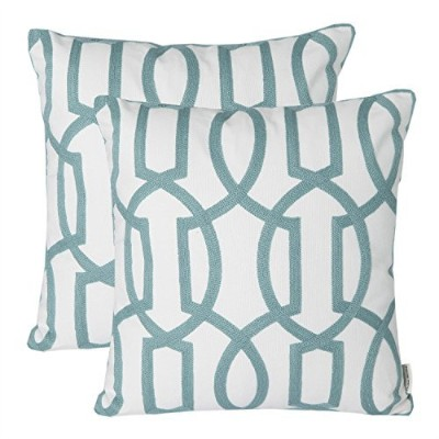 (Pack of 2-Color 5) - Pack of 2 Mika Home Embroidery Geometric Links Accent Decorative Throw Pillow...