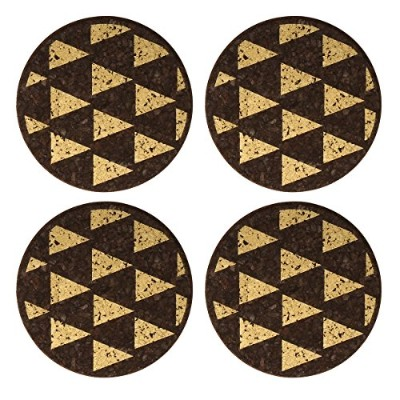 Thirstystone N543 Dark Cork Coasters with Gold Triangles (Set of 4), Multicolor