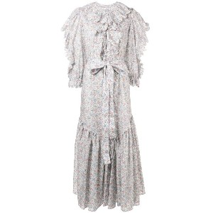 Horror Vacui scalloped floral print dress - ホワイト