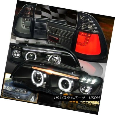 ヘッドライト 2000-2003 BMW X5 E53 Halo Projector LED Black Headlights + Smoke LED Tail Lights 2000-2003...